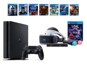 PlayStation VR Bundle 8 Items:VR Bundle,PlayStation 4 Slim- Uncharted 4,6 VR Game Disc Until Dawn:Rush of Blood, EVE:Valkyrie,Battlezone,Batman:Arkham VR, DriveClub,Battlezone