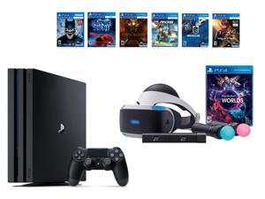 PlayStation VR Bundle 8 Items:VR Bundle,PlayStation 4 Pro 1TB,6 VR Game Disc Until Dawn: Rush of Blood,EVE: Valkyrie, Battlezone,Batman: Arkham VR,DriveClub,Battlezone Battlezone