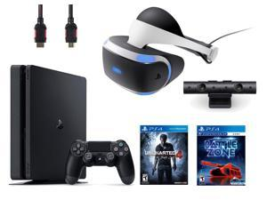 PlayStation VR Bundle (4 Items): PlayStation 4 Slim 500GB Console with Uncharted 4 Game, VR Headset, Playstation Camera, and PSVR Battlezone Game Disc