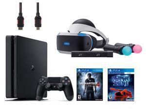 PlayStation VR Start Bundle 5 Items:VR Headset,Move Controller,PlayStation Camera Motion Sensor,PlayStation 4 Slim 500GB Console - Uncharted 4,VR Game Disc PSVR
