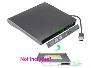 External USB 3.0  to 12.7mm SATA CD DVD RW Burner Optical Drive Enclosure Case Adapter For PC Laptop Black Color