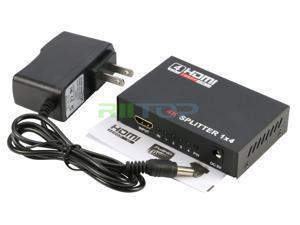 1 in 4 out Powered HDMI Splitter Amplifier Repeater Full HD 1080P 1X4 Port Box Hub with US Adapter v1.4b 3D Support