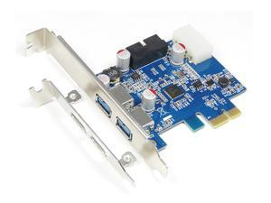 2-Port USB 3.0 PCI Express PCI-e Controller Card Adapter w/ 20 pin Connector (NEC Chipset)