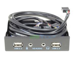 """3.5"""" PC Front Panel 2-Port USB 2.0 Hub & HD Audio with Motherboard 9pin USB2.0 Connector Cable For PC 3.5inch Floppy Bay"""