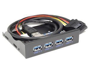 "4-Port USB 3.0 HUB Combo Front Panel 3.5 inch 3.5"" PC Floppy Bay Aluminum to Mainboard USB3.0 19/20Pin Hi-Speed 5Gb"