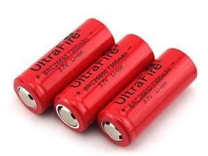 LEMAI 3 Pieces 7300mAh 3.7V 26650 Rechargeable Li-ion Battery Pack for Ultrafire TrustFire CREE XM-L T6 LED Flashlight