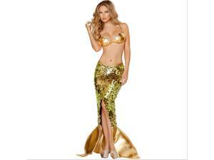 Sexy Golden Mermaid Costume for Women Adult Halloween Fancy Party Cosplay Dress(M)