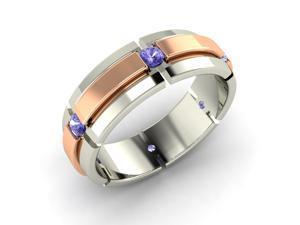 Round Tanzanite Tow Tone Men's Ring in 14k White Gold By Diamondere - Lior