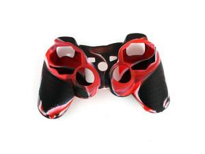 Camouflage Silicone Cover Case Skin for PS3 Controller Red with Black