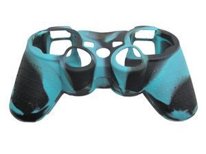 New Silicone Cover Case Skin for Ps3 Controller Camo Black with Blue