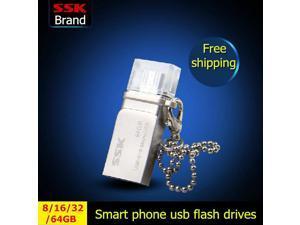 SSK White OTG Smart Phone USB Flash Drives 32GB 16GB 8GB Pen Drive Double Plug MINI Metal Waterproof Usb Stick -inUSB Flash Drives