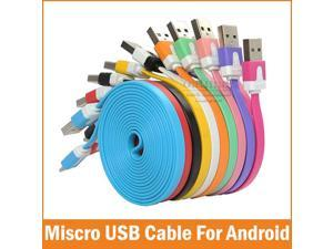 Top quality Micro Usb Cable Mini 1M Flat Noodle Micro USB Data Sync Charger Microusb Cable for Samsung S6 Android Accessories