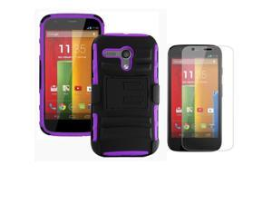 Heavy Duty Defender Holster Shell Belt Clip Hard Case Cover w/ Kick-Stand for MOTO G (XT1032)     [Purple]