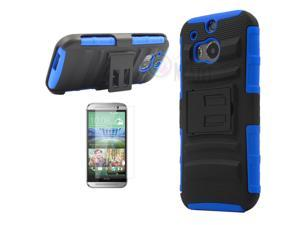 Heavy Duty Defender Holster Shell Belt Clip Hard Case Cover w/ Kick-Stand for HTC ONE 2/M8 [Blue]