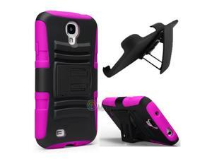Heavy Duty Defender Holster Shell Belt Clip Hard Case Cover w/ Kick-Stand for Samsung Galaxy S4 i9500 [Rose]