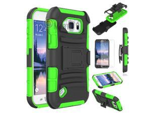 Heavy Duty Defender Holster Shell Belt Clip Hard Case Cover w/ Kick-Stand for Samsung Galaxy S6 Active (G890)  [Green]