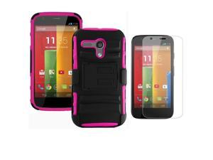 Heavy Duty Defender Holster Shell Belt Clip Hard Case Cover w/ Kick-Stand for MOTO G (XT1032)     [Rose]