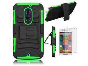 Heavy Duty Defender Holster Shell Belt Clip Hard Case Cover w/ Kick-Stand for Moto X 2nd Gen (XT1097) [Green]