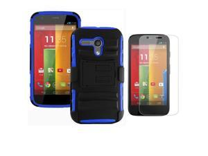 Heavy Duty Defender Holster Shell Belt Clip Hard Case Cover w/ Kick-Stand for MOTO G (XT1032)     [Blue]