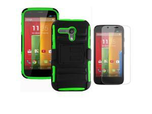 Heavy Duty Defender Holster Shell Belt Clip Hard Case Cover w/ Kick-Stand for MOTO G (XT1032)     [Green]