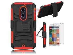Heavy Duty Defender Holster Shell Belt Clip Hard Case Cover w/ Kick-Stand for Moto X 2nd Gen (XT1097) [Red]