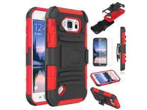 Heavy Duty Defender Holster Shell Belt Clip Hard Case Cover w/ Kick-Stand for Samsung Galaxy S6 Active (G890)  [Rose]