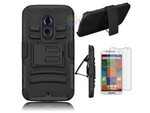 Heavy Duty Defender Holster Shell Belt Clip Hard Case Cover w/ Kick-Stand for Moto X 2nd Gen (XT1097) [Black]