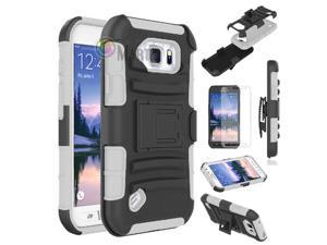 Heavy Duty Defender Holster Shell Belt Clip Hard Case Cover w/ Kick-Stand for Samsung Galaxy S6 Active (G890)  [White]