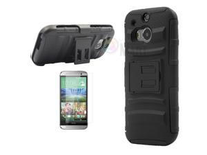 Heavy Duty Defender Holster Shell Belt Clip Hard Case Cover w/ Kick-Stand for HTC ONE 2/M8 [Black]