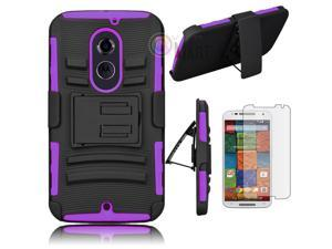 Heavy Duty Defender Holster Shell Belt Clip Hard Case Cover w/ Kick-Stand for Moto X 2nd Gen (XT1097) [Purple]