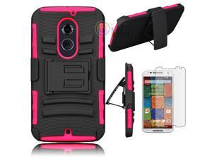 Heavy Duty Defender Holster Shell Belt Clip Hard Case Cover w/ Kick-Stand for Moto X 2nd Gen (XT1097) [Rose]