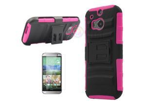 Heavy Duty Defender Holster Shell Belt Clip Hard Case Cover w/ Kick-Stand for HTC ONE 2/M8 [Rose]