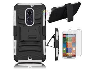 Heavy Duty Defender Holster Shell Belt Clip Hard Case Cover w/ Kick-Stand for Moto X 2nd Gen (XT1097) [White]