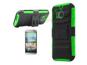 Heavy Duty Defender Holster Shell Belt Clip Hard Case Cover w/ Kick-Stand for HTC ONE 2/M8 [Green]