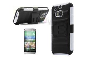 Heavy Duty Defender Holster Shell Belt Clip Hard Case Cover w/ Kick-Stand for HTC ONE 2/M8 [White]