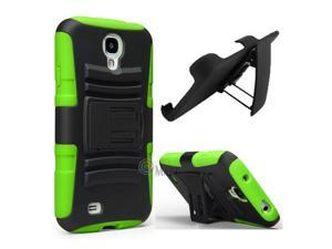 Heavy Duty Defender Holster Shell Belt Clip Hard Case Cover w/ Kick-Stand for Samsung Galaxy S4 i9500 [Green]
