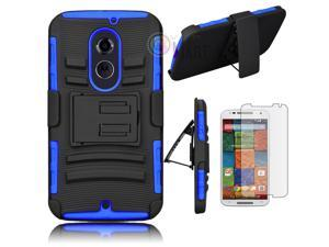 Heavy Duty Defender Holster Shell Belt Clip Hard Case Cover w/ Kick-Stand for Moto X 2nd Gen (XT1097) [Blue]