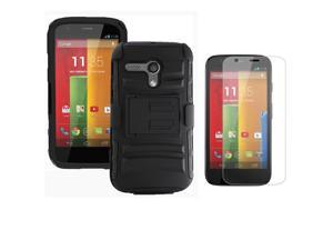 Heavy Duty Defender Holster Shell Belt Clip Hard Case Cover w/ Kick-Stand for MOTO G (XT1032)     [Black]
