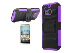 Heavy Duty Defender Holster Shell Belt Clip Hard Case Cover w/ Kick-Stand for HTC ONE 2/M8 [Purple]