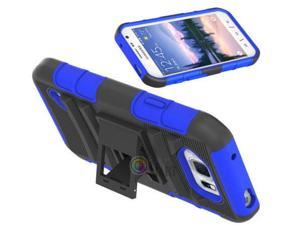 Heavy Duty Defender Holster Shell Belt Clip Hard Case Cover w/ Kick-Stand for Samsung Galaxy S6 Active (G890)  [Blue]