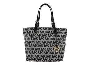 Michael Kors Jet Set East West Logo Satchel Tote - Beige / Black