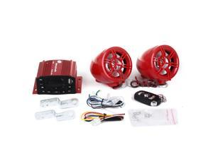 Motorbike Motorcycle Audio System Amplifier Speaker Radio AUX LCD Red New