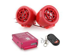 Motorcycle Audio Remote Sound System Support SD USB MP3 FM Radio Red