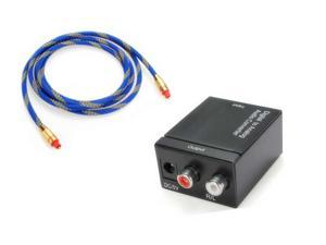 New Digital Optical Coaxial Toslink to Analog RCA L/R Audio Converter +Optical audio adapter cable