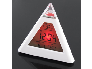7 Colors Changing Digital LCD Pyramid Triangle Thermometer LED Alarm Clock