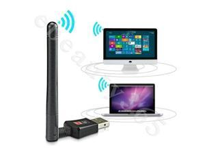 Wireless 2.0 USB 300Mbps WiFi Network Card LAN Adapter Dongle Laptop PC+ Antenna