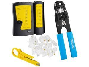 New RJ45 Cable Crimper + Tester + RJ45 Connectors CAT5 Networking Network Tool Kit