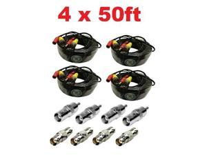 4 x 50ft Video Power Extension Cable CCTV BNC RCA Security Camera Wire Cord