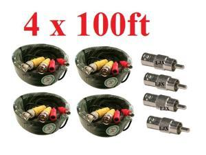 4 Pcs 100ft BNC CCTV Video Power Cable CCD Security Camera DVR Wire Cord