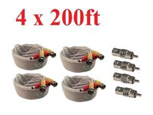 4 x 200ft Siamese CCTV Security Camera Video Power BNC RCA Cable with Connectors